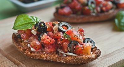 Tomato and Mushroom Bruschetta