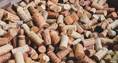 Wine corks in a box