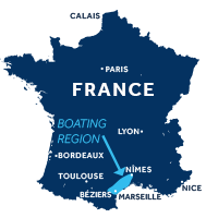 Map showing where Camargue boating region is in France