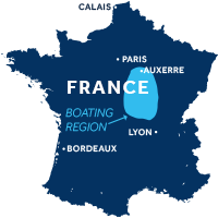 Map showing where the Nivernais & Loire boating region is in France